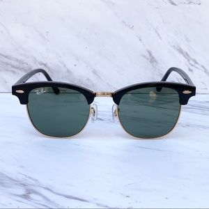 Ray-Ban Clubmaster RB3016 Black Gold NEW